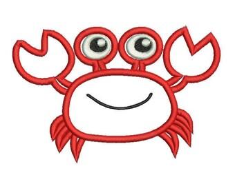 6 sizes - Crab Applique Designs, Summer Crab Embroidery Design, Instant Download, Kids Applique Designs, Cute Crab, Machine Embroidery