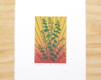 "Woodblock Print - ""To Soothe You"" - Eucalyptus Yoga Plant - Printmaking"