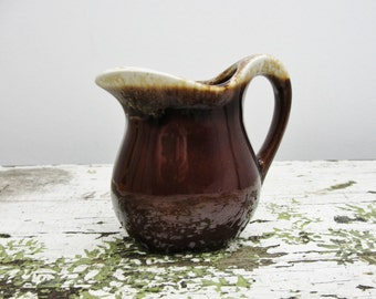 Vintage brown drip cream pitcher
