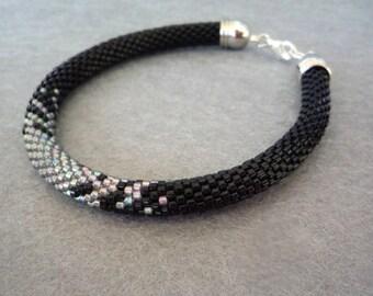 Black Silver Beaded Crochet Bracelet -Beadwork Bracelet - Rope Bracelet