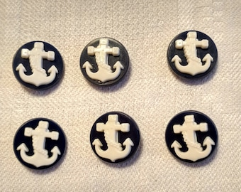 6 Vintage Nautical Themed Navy Blue Buttons with White Anchor