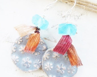 Rustic Ceramic Flower Silver Earrings Recycled Glass Fibers