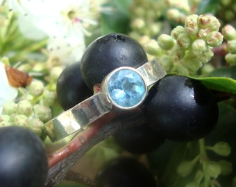 Ring December Birthstone 5mm Natural Blue Cambodian Zircon in eco-friendly recycled sterling silver - Ready to Mail size 8.5 (UK Q1/2)