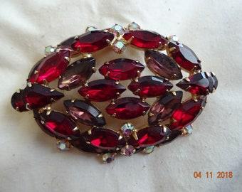Beautiful red rhinestone brooch