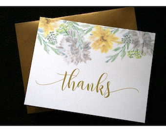 Watercolor Wildflowers in Gray Yellow and Green Thank You Note Cards - Folded Notes with Watercolor Flowers