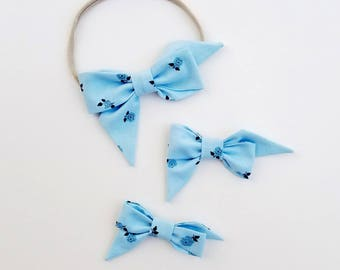 Sky blue Rose Mae Bow Headband or Clip