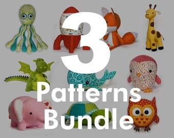 Stuffed animal patterns - choose any 3 pdf sewing patterns from my shop