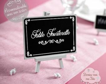 "Brand-Table ""Chalkboard easel"" customized"