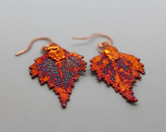 Iridescent Copper Birch Leaf Earrings