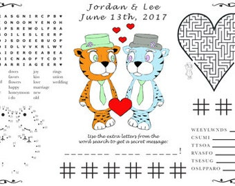 Wedding Activity PDF. Printable Placemat, Varying Sizes. Customize Your  Names and Date.