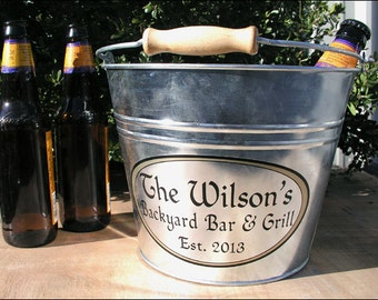 Custom Metal Bucket, Galvanized Beer Bucket or Ice Bucket, Personalized Bucket for Outdoor Patio Grill - Large Size (6qt)