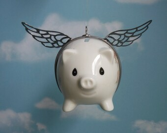 Precious Moments Piggy Bank Up Cycled into Flying Pig