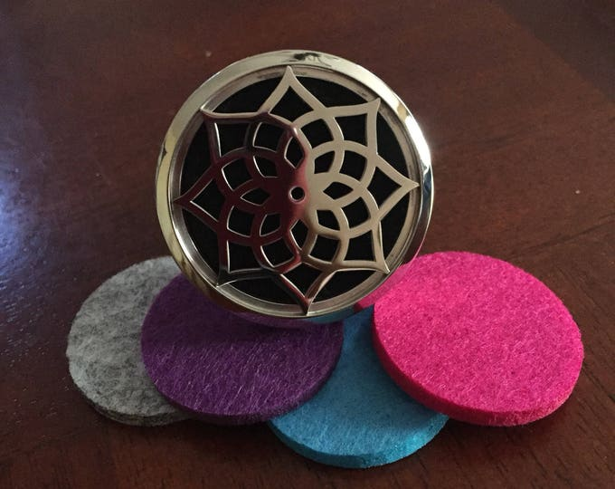 38mm Stainless Steel Aromatherapy Locket Car Vent Clip with 5 Felt pads