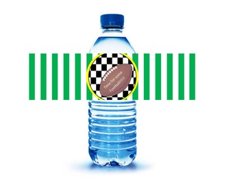 FOOTBALL THEME // Football party labels // water bottle party labels // Soda labels // checkered flag party // sports party