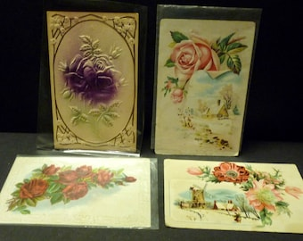 4 Aq. Floral Embossed Post Cards - 1900's - 2 used- 2 unused