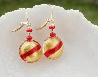Gold Murano Earrings, Red & Gold Earrings