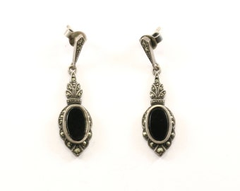 Vintage Oval Onyx Crystals Stud Earrings 925 Sterling Silver ER 384-E