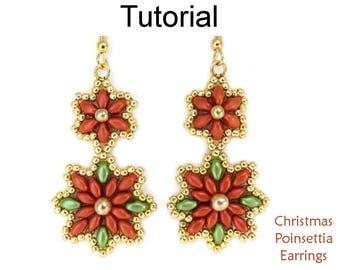 Beading Tutorial Pattern - Beaded Holiday SuperDuo Poinsettia Earrings - Simple Bead Patterns - Christmas Poinsettia Earrings #23902