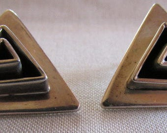 Sterling Silver Triangular Post Earrings from Mexico
