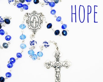 Contemporary Handmade Rosary--Glass Faceted Beads--Blue Ombre--Inspirational--Catholic Gift--Baptism--Confirmation--Wedding--Prayer Beads