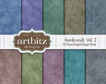 "Rembrandt, Vol. 2, 10 Piece Digital Scrapbook Paper Pack, 12""x12"", 300 dpi .jpg, Instant Download!"