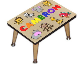 Child's Personalized Step Stool Puzzle With Jungle Friends and Your Kids Name Giraffe, Zebra, Monkey, Lion, Tigar, Elephant 533106027