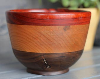 Padauk, Cherry and Walnut bowl