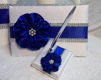 Wedding Guest Book, Wedding Guest Book and Pen Set, Royal Blue Flower and Trim with Rhinestone Mesh Trim