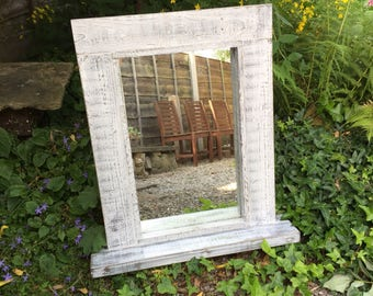 Hand Crafted Shabby Chic Wooden Mirror with lovely shelf - Mirror With Shelf, Vanity mirror