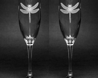 Dragonfly Champagne Flutes