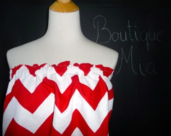 Balloon Tube TOP - Riley Blake - Red and White Chevron - Made in ANY Size - Boutique Mia