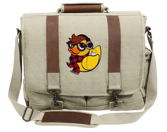 Hipster Duckie Embroidered Canvas with Leather Accents Premium Laptop Bag