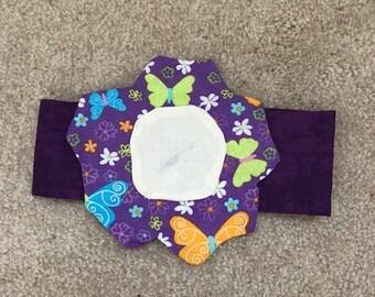 Decorative greyhound neckwear - purple flower with butterflies - black neckband -  Free Shipping