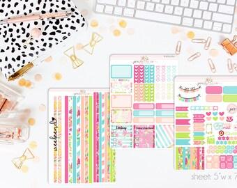 Citrus Splash HORIZONTAL Weekly Kit // 130+ Matte Planner Stickers // Perfect for your Erin Condren Life Planner // WKH0760
