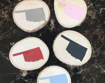 Oklahoma Wood Magnets / Rustic Home Decor / Kitchen Decor / Fridge Magnets / Wedding Favor / Stocking Stuffers