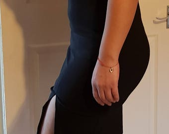 Pencil skirt dress with slit at foot