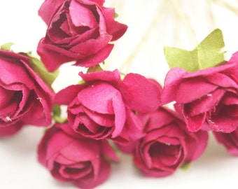 Bridal Hair Accessories, Pink  Rose, Fuchsia  flower Hair Bobby Pin- set 6