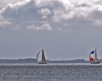 "Photography, ""3 sailing boats"", fine art print, photography, color"