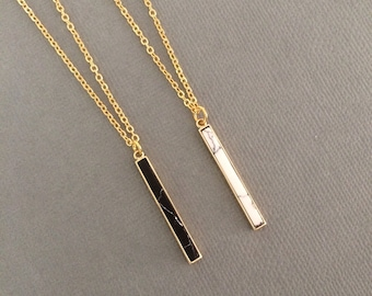 Gold bar necklace, white marble necklace, gemstone pendant necklace, gold necklace, black marble bar pendant, howelite jewellery, jewelry