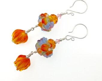 Lampwork Earrings, Orange Yellow Flower Earrings, Dangle Drop Beaded Earrings, Glass Bead Earrings, Beadwork Mod Earrings, Lampwork Jewelry