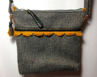 Or gray Chevron and mustard stripe shoulder bag
