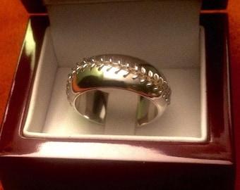 14 KT Gold hand-stitched baseball ring, engagement wedding band