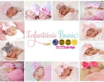 CPSIA certified (child safe) newborn hospital hats by Infanteenie Beenie for your beautiful baby girl.  Award winning baby girl newborn hats