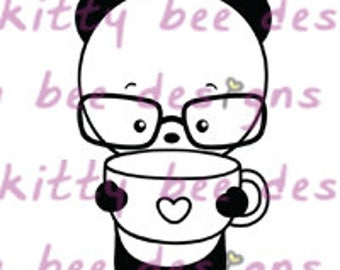 Coffee or Tea Please Panda Digital Stamp