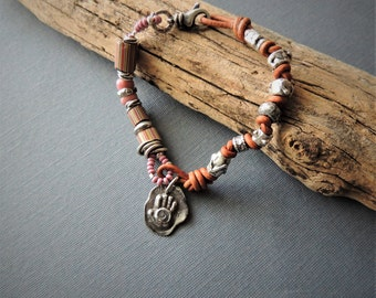 African Trade Bead Bracelet Artisan Jewelry, Artisan Silver Slider Beads, Pink Glass Trade Beads, Spiral Hand Charm, Knotted Leather