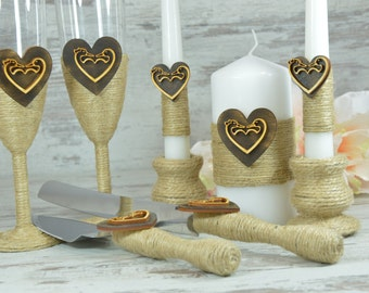 Rustic Wedding Set Champagne Glasses Cake Serving Set Unity Candle Set Burlap Country Wedding Cake Knife Set Toasting Flutes Wedding Candles