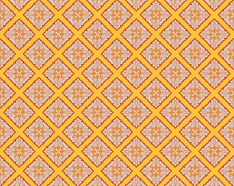 Primavera Tile in Tangerine Cotton Fabric by Patty Young for Riley Blake
