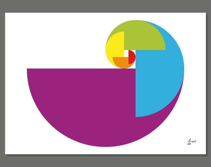 Golden Ratio Parrot 01 [mathematical abstract art print, unframed] A4/A3 sizes