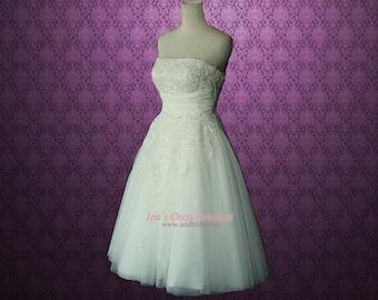 Retro Vintage 50s Short Tea Length Wedding Dress with Floral Sash BH130803 Serena