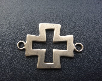 Solid bronze sideways cross charm, connector, bronze cross connector,bronze sideways cross,bronze cross, cross